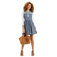 Oasis - Alicia embroidered denim dress