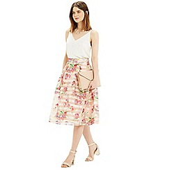 Oasis - Floral organza midi skirt