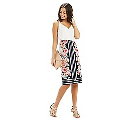 Oasis - Scarf floral pencil skirt