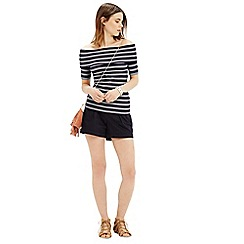 Oasis - Stripe  bardot rib top