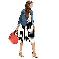 Oasis - Textured Stripe Midi Skirt