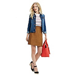 Oasis - Suedette And Pu Leather Skirt
