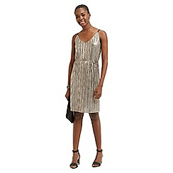Oasis - Metallic Plisse Slip Dress