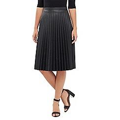 Oasis - Faux Leather Pleat Midi Skirt