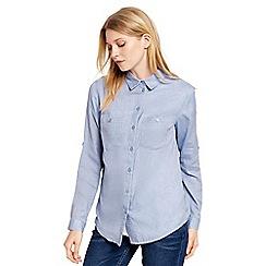 Oasis - Mid blue utility soft cotton shirt