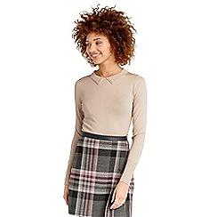 Oasis - Natural cream embellished collar knit top