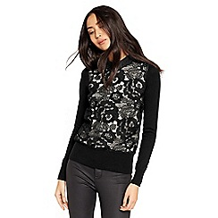 Oasis - Lace Front Collared Sweatshirt