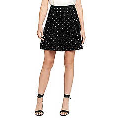 Oasis - Black flippy spot skirt
