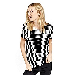 Oasis - Black and white stripe piped neck formal t-shirt