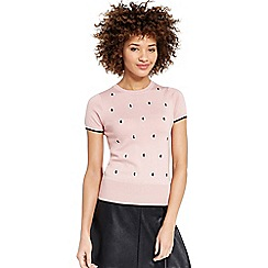 Oasis - Embroidered spot knit top
