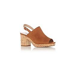 Oasis - Tan 'Beatrix' block heels peeptoe shoes