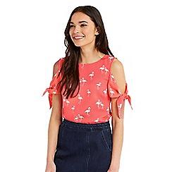 Oasis - Flamingo tie shoulder top