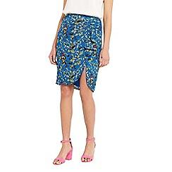 Oasis - Topaz bird ruffle drape skirt