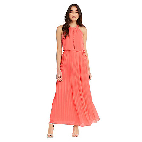 Pleated belted maxi dress oasis