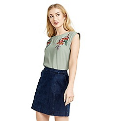 Oasis - Embroidered roll sleeve t-shirt
