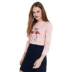 Oasis - Flamingo intarsia knit top