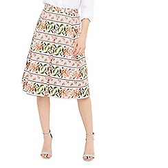 Oasis - Ascot floral stripe skirt