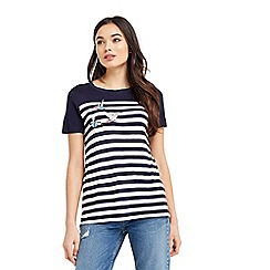 Oasis - Embroidered bird stripe t-shirt