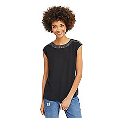 Oasis - Embellished cowl back t-shirt