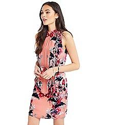Oasis - Leaf & rose high neck dress