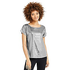 Oasis - Sequin panelled t-shirt