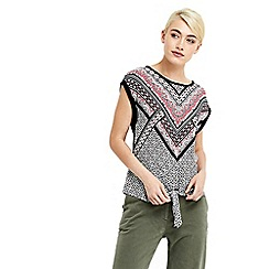 Oasis - Tribal woven front knot top