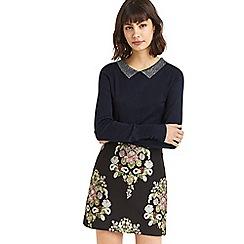 Oasis - Navy sparkle collar knit jumper