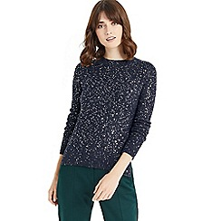 Oasis - Navy sequin detail perfect crew