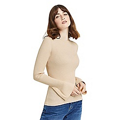 Oasis - Tan rib crew fluted sleeves knit top