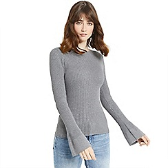 Oasis - Grey rib crew fluted sleeves knit top