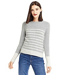 Oasis - Grey stripe perfect crew neck knit top