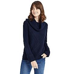 Oasis - Navy rib cowl neck knit jumper
