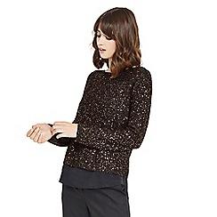 Oasis - Black sequin woven mix knit jumper