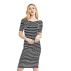 Oasis - Bardot wrap stripe dress