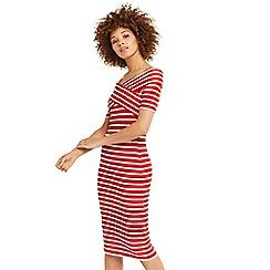 Oasis - Bardot wrap stripe dress