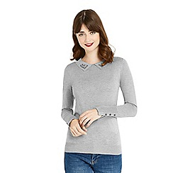 Oasis - Grey napoleonic collar knit top
