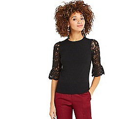 Oasis - Black lace fluted sleeves top