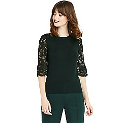 Oasis - Green lace fluted sleeves top
