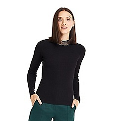 Oasis - Black embellished high neck knit top
