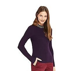 Oasis - Purple embellished high neck knitted jumper