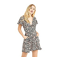 Oasis - Ditsy tie front playsuit