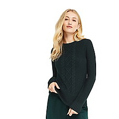 Oasis - Dark green 'laura' cable knitted jumper