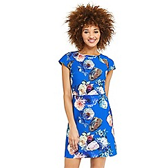 Oasis - Rose print short sleeves shift dress