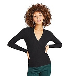 Oasis - Black rib wrap top