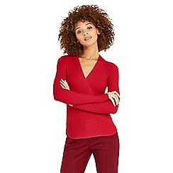 Oasis - Red rib wrap top