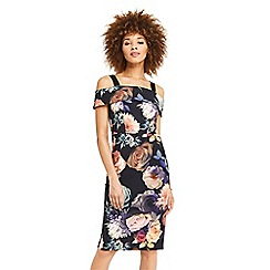 Oasis - Rose print cold shoulder pencil dress