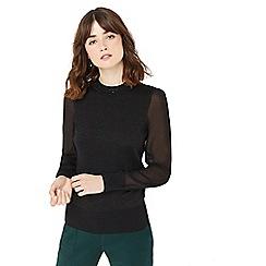 Oasis - Black sheer sleeve knit