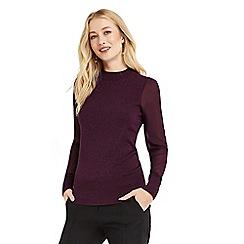 Oasis - Burgundy sheer sleeve knit