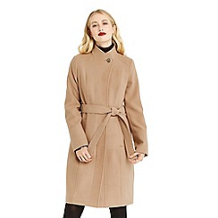Oasis - Camel 'Leahana' long funnel neck coat