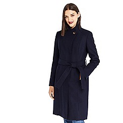 Oasis - Navy 'Leahana' long funnel neck coat